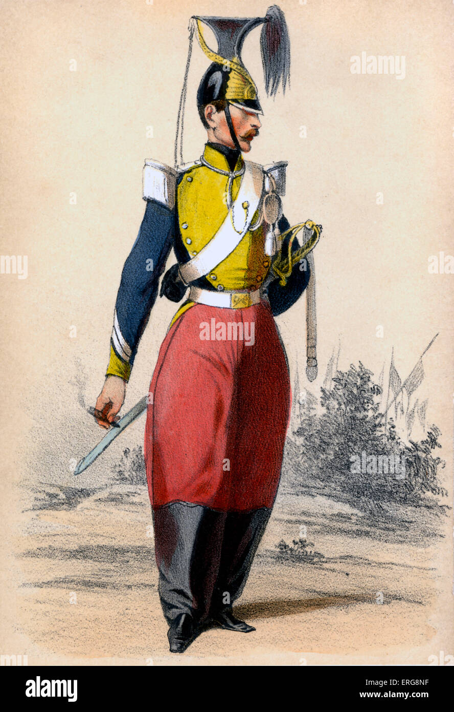 Lancier: type of cavalryman in the 19th century French Army who fought with a lance. From series 'Paris au XIX. - Stock Image