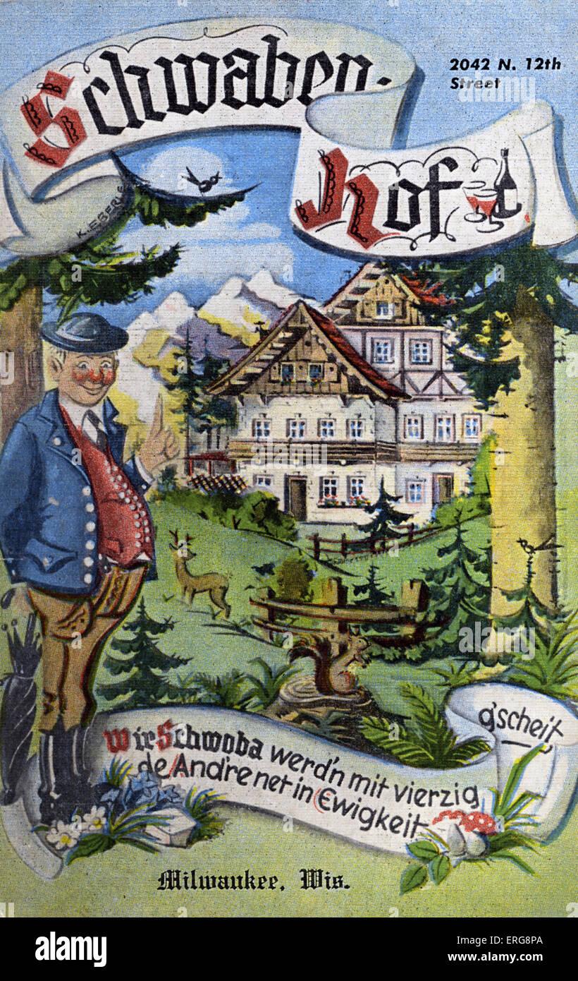 Schwaben- Hof, Milwaukee, US - restaurant. 1950s advert. German style. - Stock Image