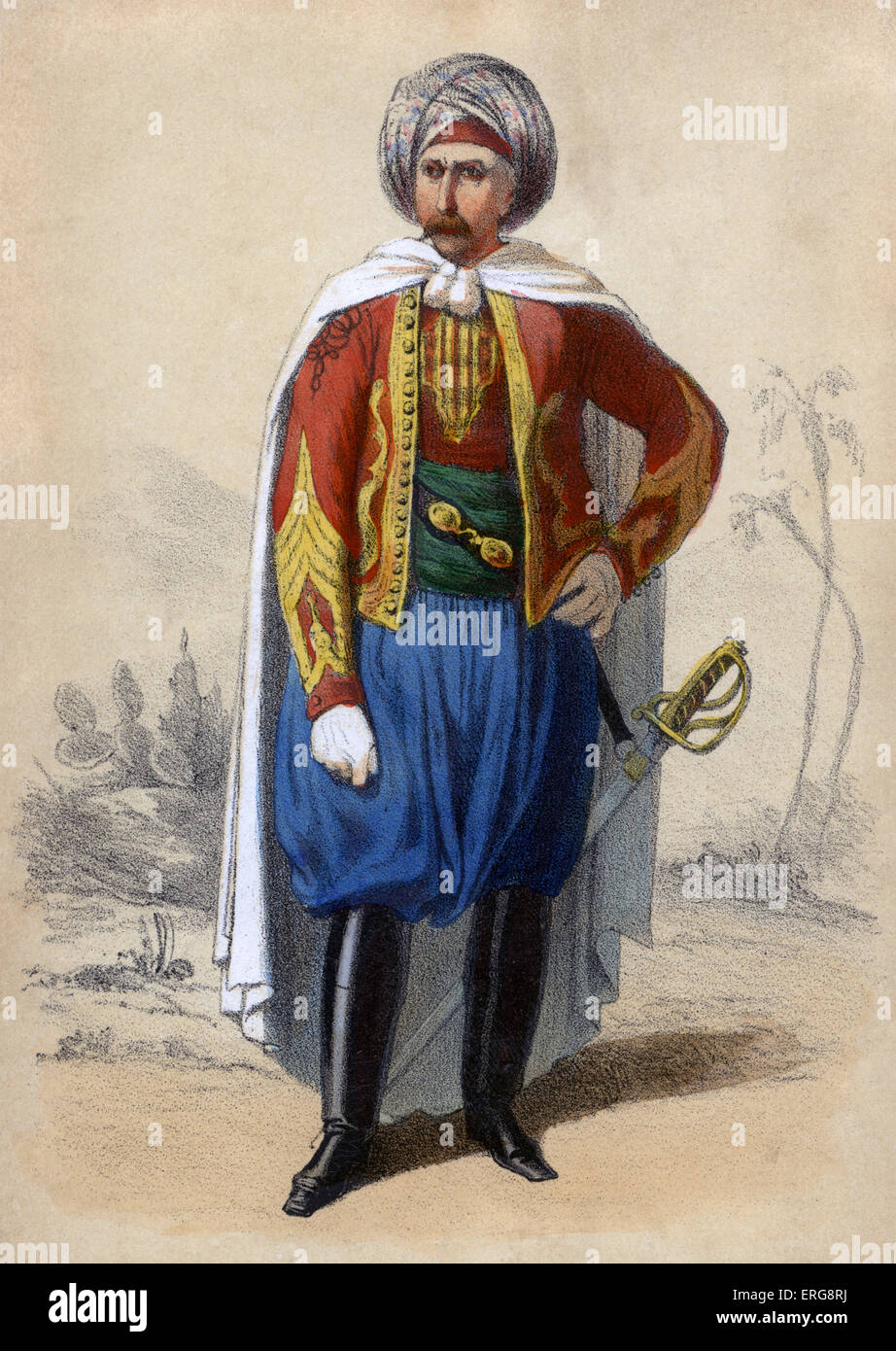 Spahis: member of light cavalry regiments of the 19th century French army recruited primarily from the indigenous - Stock Image