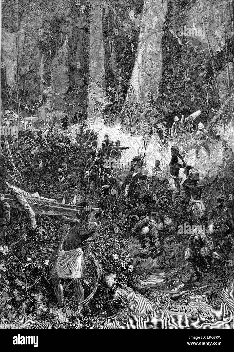 The Ashanti War of 1900: A Fight in the Forest. - Stock Image
