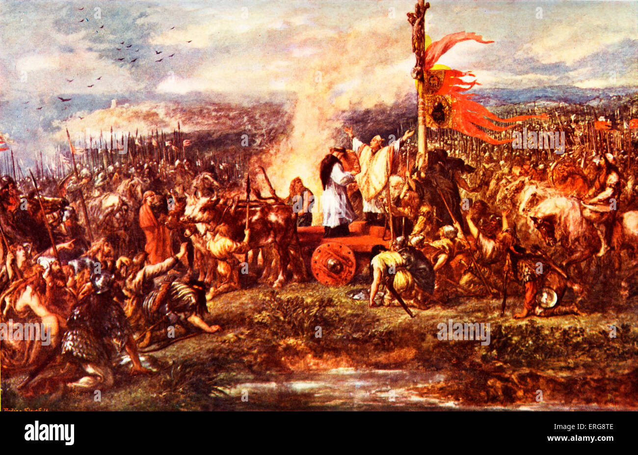 The Battle of the Standard, sometimes called the Battle of Northallerton, in which English forces repelled a Scottish - Stock Image