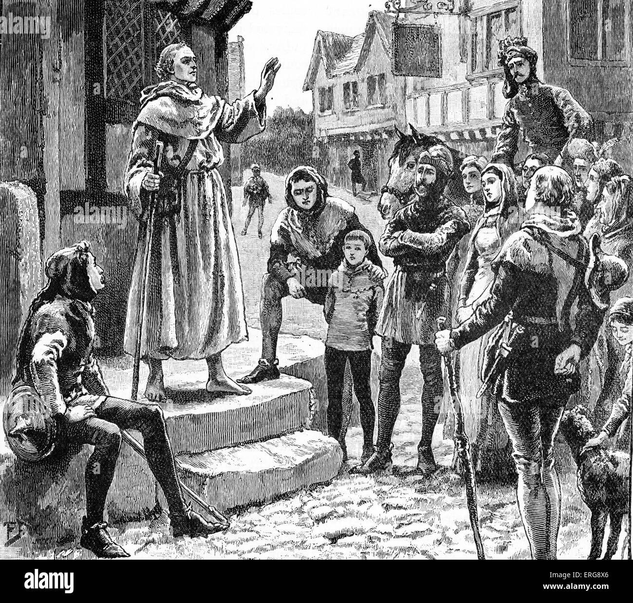 John Wycliffe 's 'poor priests' - preaching. Wycliffe campaigned for the end of the hierarchy of the Catholic church.  English Stock Photo
