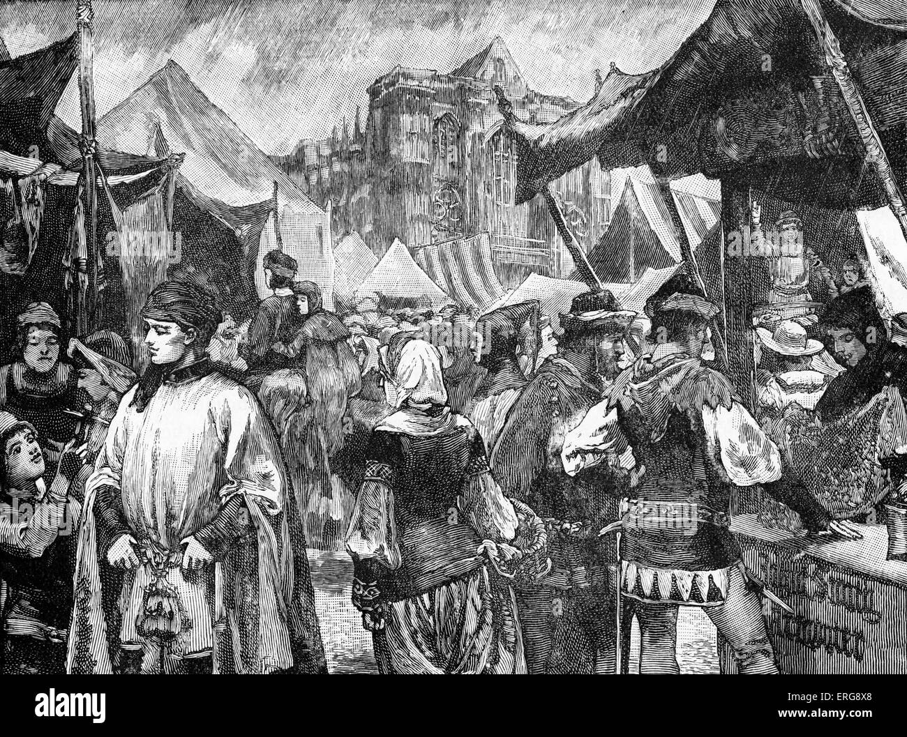 Fair at Westminster, 14th century. London. - Stock Image