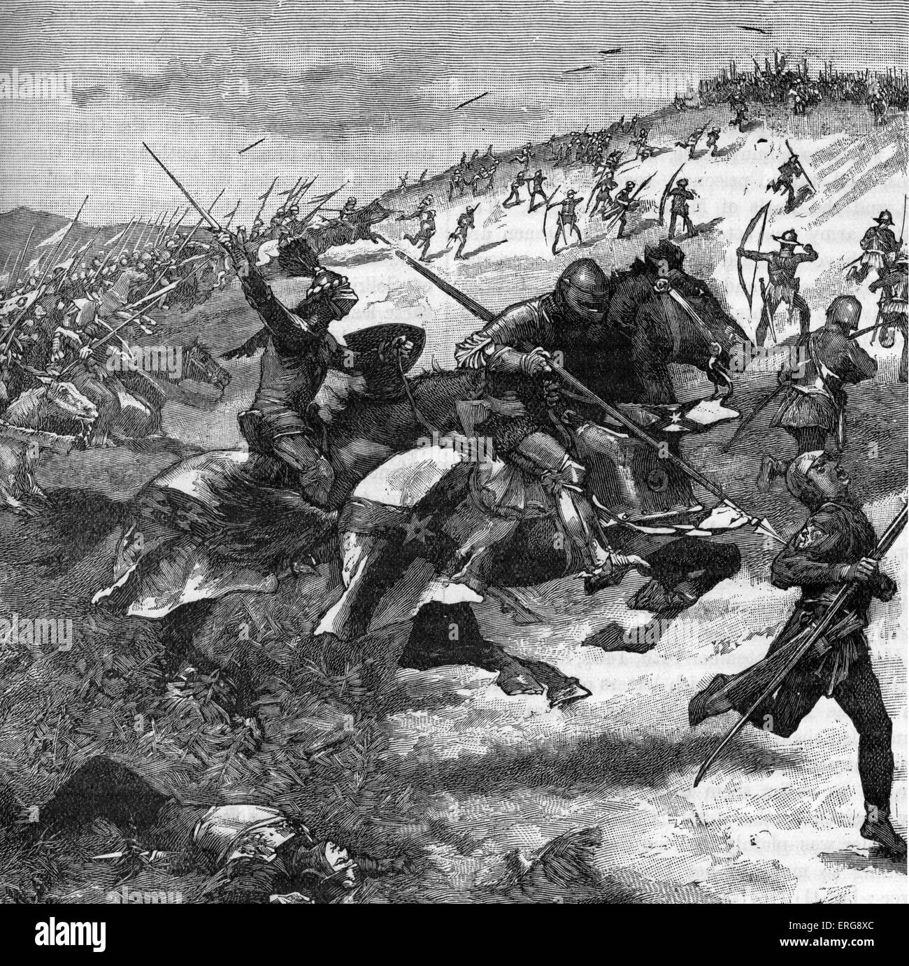 Battle of Humbleton Hill - Scottish charge. 14 September 1402, Nortumberland. Scottish army, led by Archibald, Earl Stock Photo