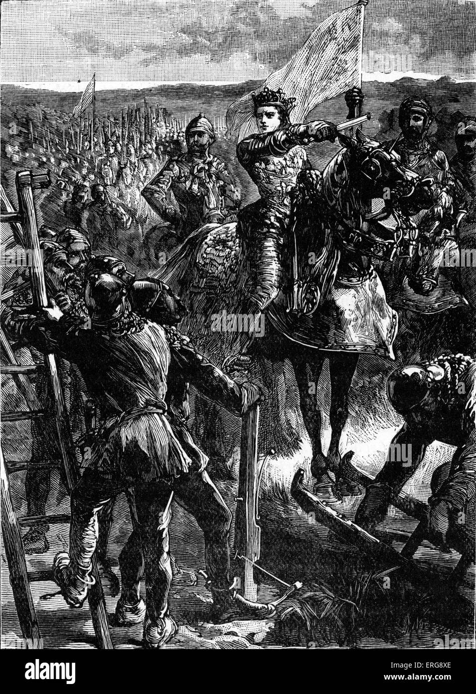 Siege of Harfleur - English before the siege. 18 August -  22 September  1415, during Hundred Years' War. Under - Stock Image