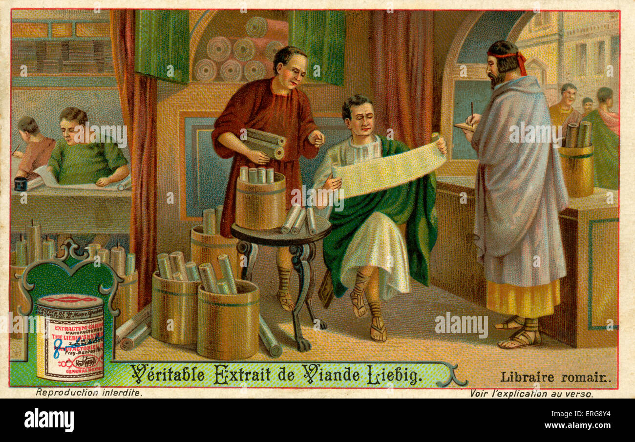 Library in Ancient Rome. First libraries in the Roman empire were founded in the 3rd century. (Liebig series: Librairies/ - Stock Image