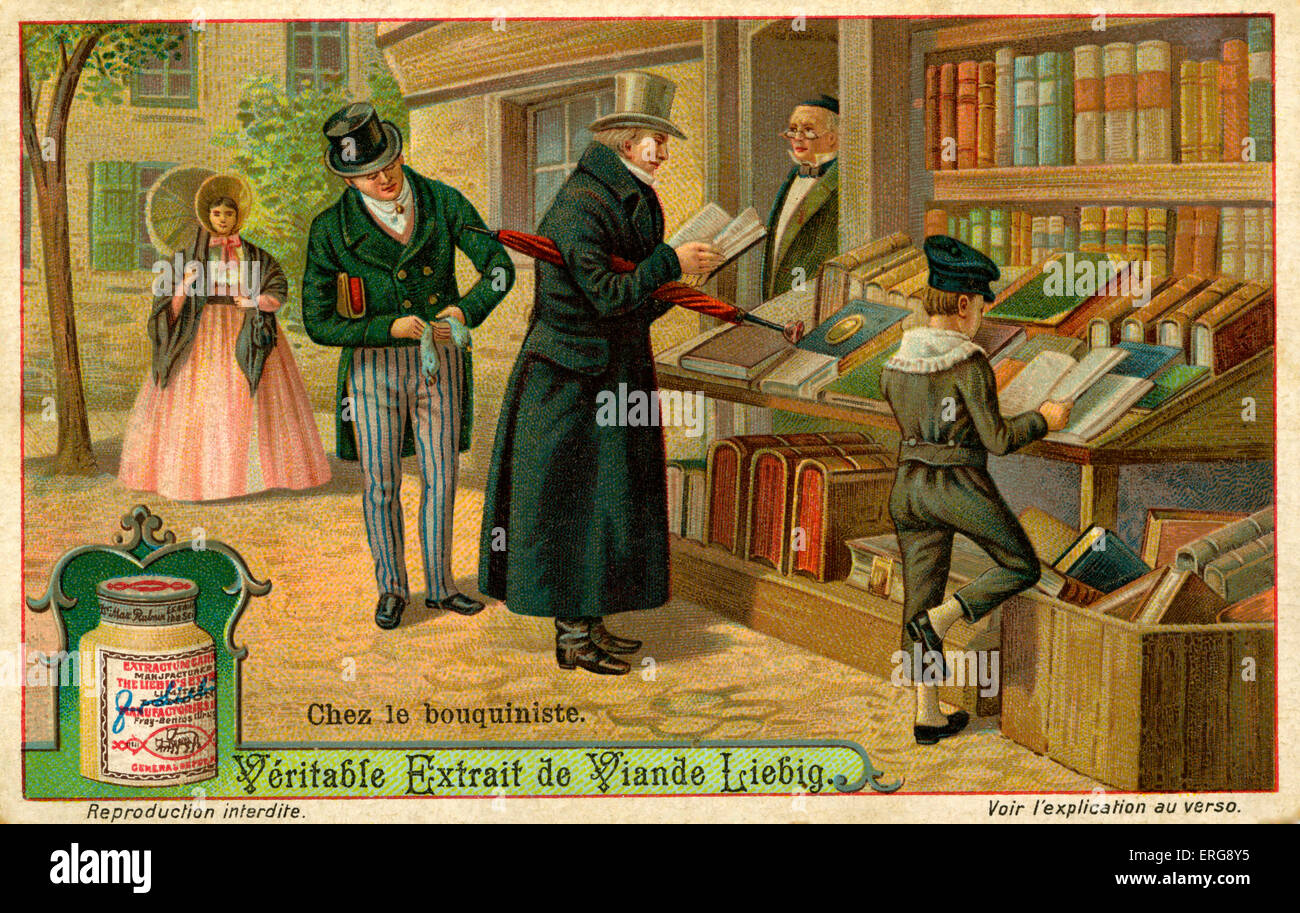 Bouquinistes were book dealers especially for old books and manuscripts, sometimes sold at high prices and sometimes - Stock Image