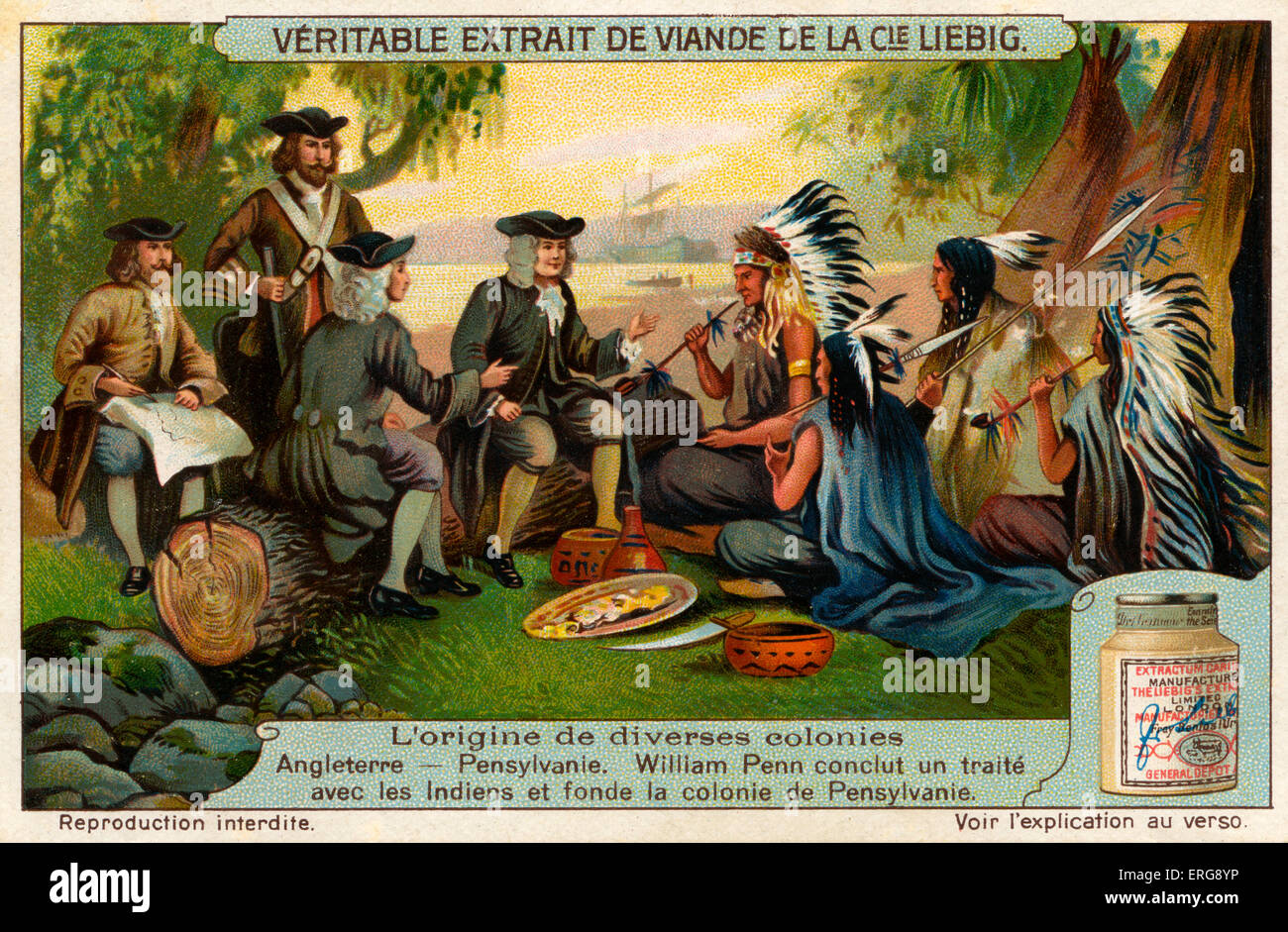 William Penn (1644 –1718) closing a treaty with the Native Americans and founding the colony of Pensylvania. Penn Stock Photo