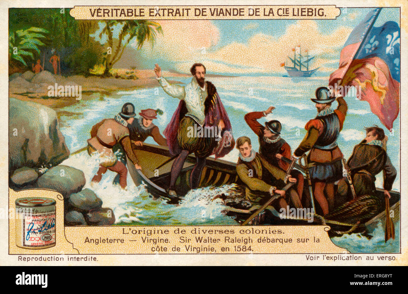 Founding of the colony of Virginia by the English: Sir Walter Raleigh (ca 1552 – 1618) landing on the coast of Virginia - Stock Image