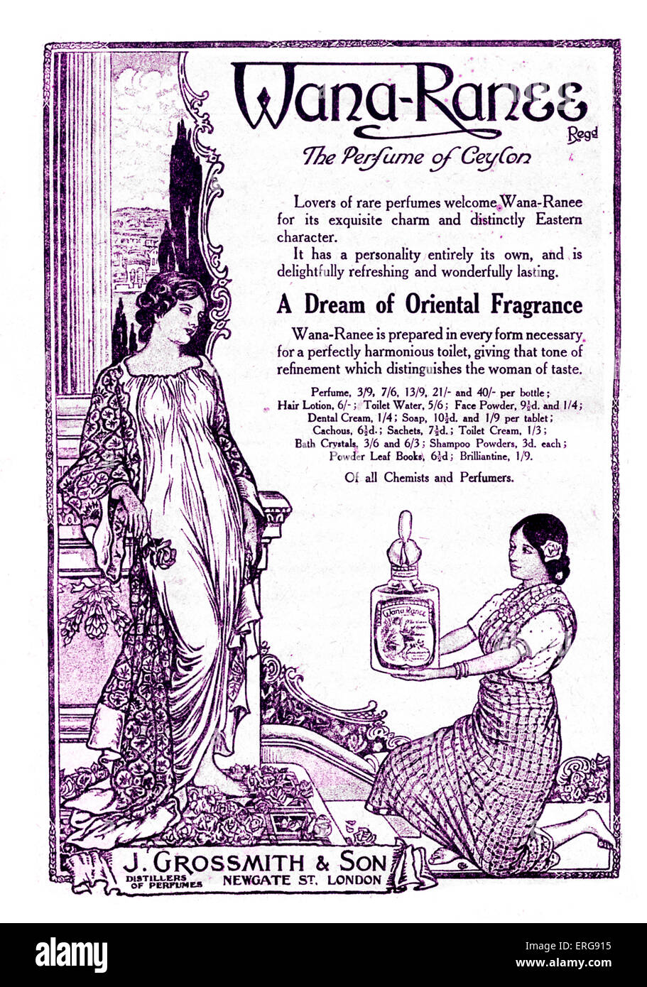 Wana- Ranee perfume - advertisement, 1918. Made by J. Gorssmith & Son, London, UK. - Stock Image