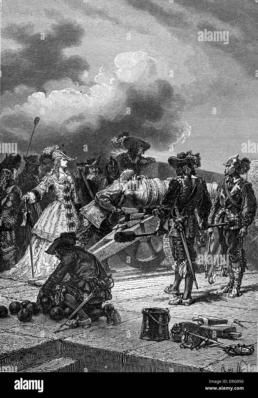 Marie d'Orléans commanding during the Fronde - civil war in France, occurring in the midst of the Franco - Stock Image