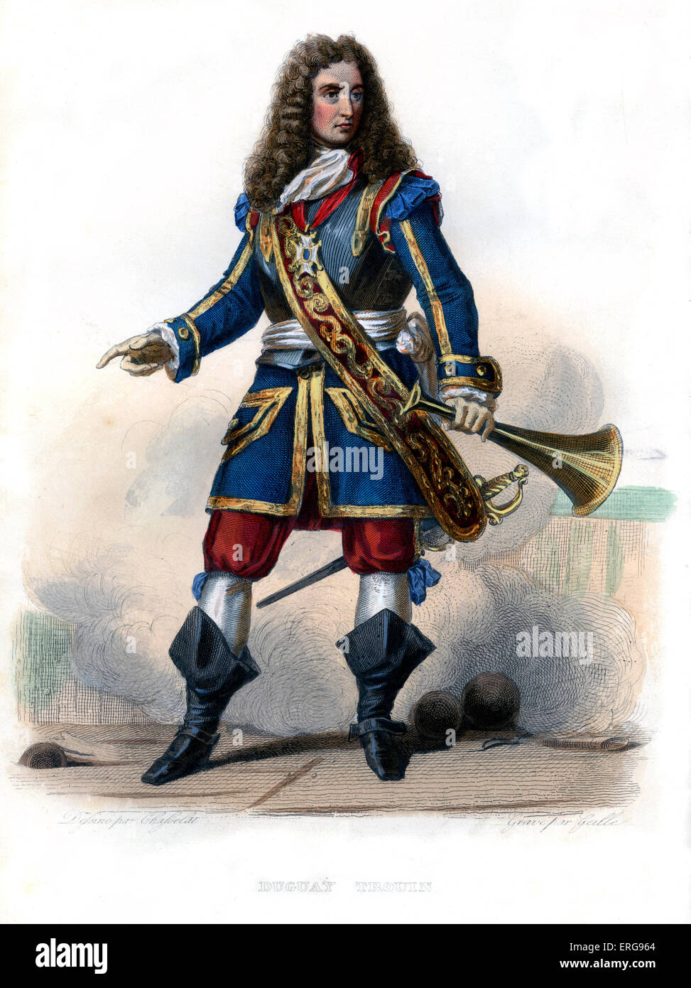 René Trouin, Sieur du Gué, usually called René Duguay-Trouin. Famous French corsair /privateer of - Stock Image