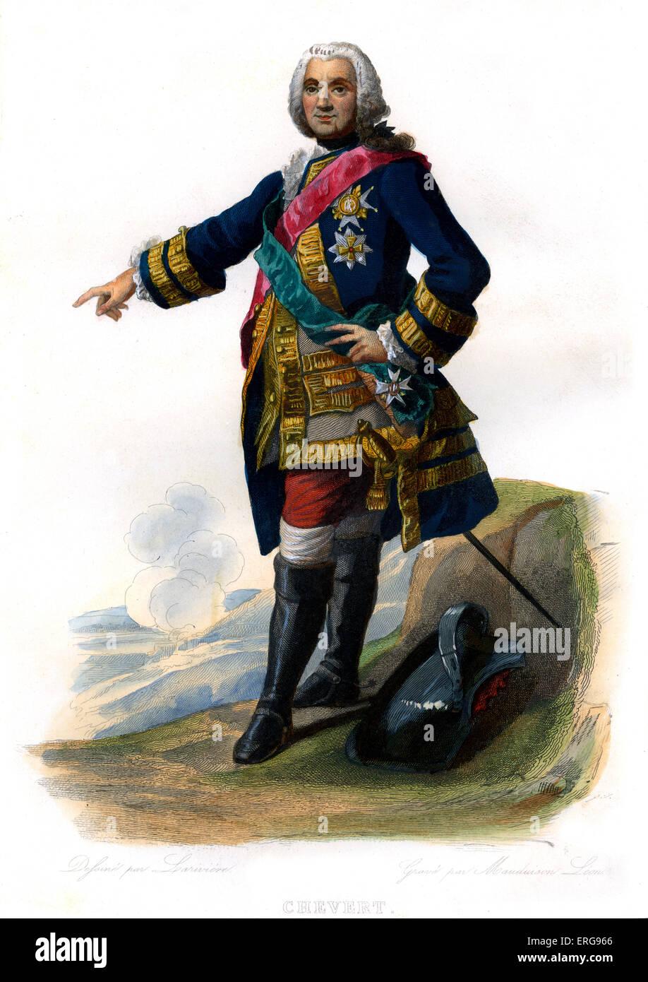 François de Chevert. French general. 1695-1769. Engraving by Mauduison Léon, c.1866. - Stock Image