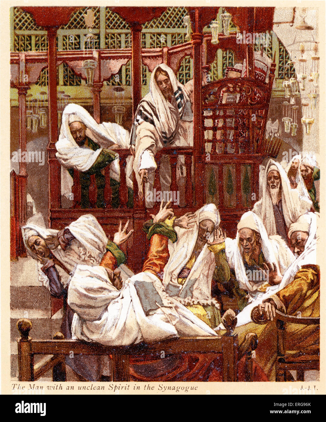 The Man with an unclean Spirit in the Synagogue - St Mark, Chapter 1.  Illustrated by J James Tissot. French painter - Stock Image