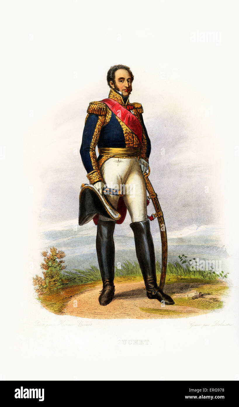 Louis Gabriel Suchet, 1st Duc d'Albufera. Marshal of France and one of Napoleon's generals. 1770-1826. Engraving - Stock Image