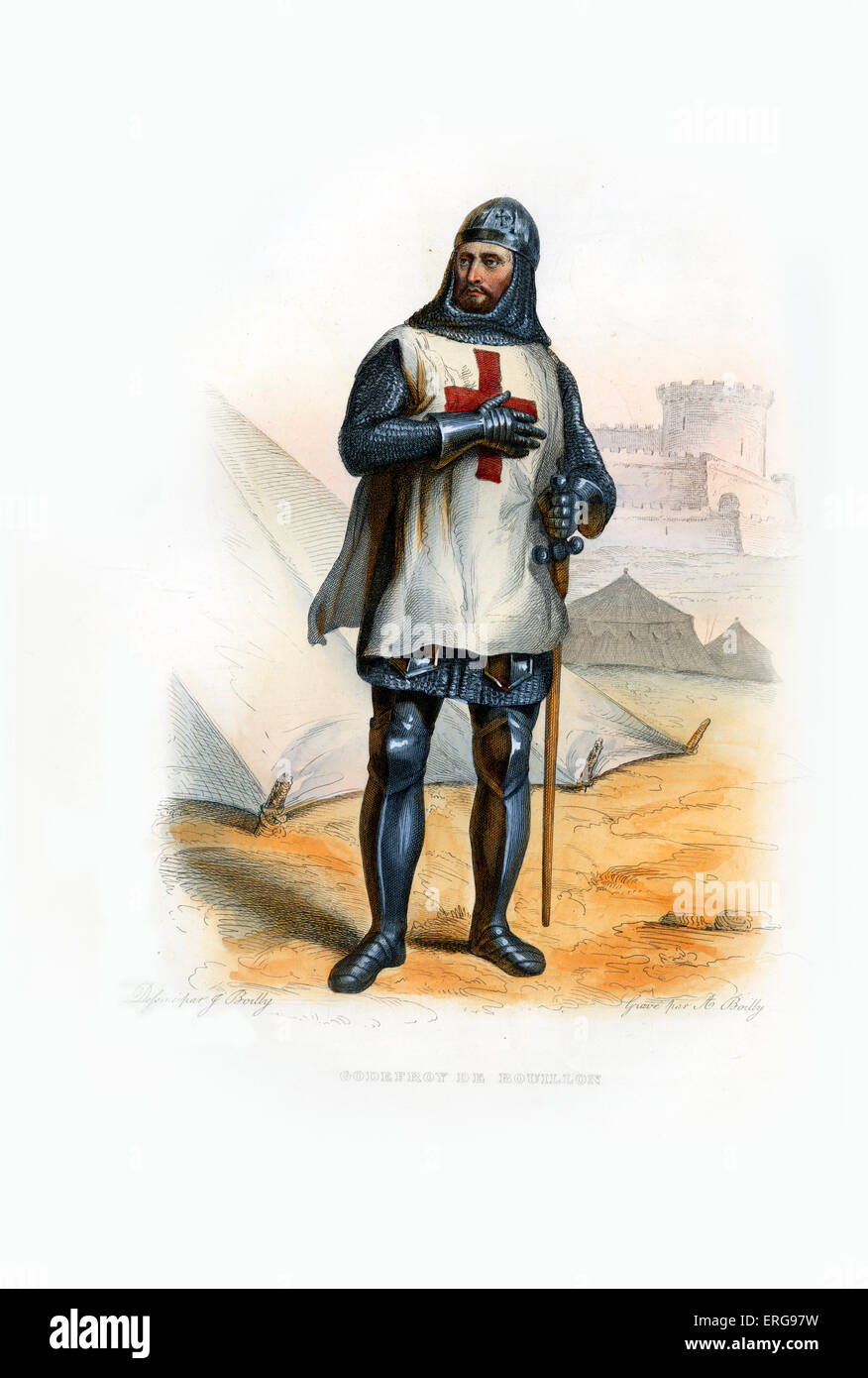 Godefroy of Bouillon. Medieval Frankish knight who was one of the leaders of the First Crusade from 1096 until his - Stock Image
