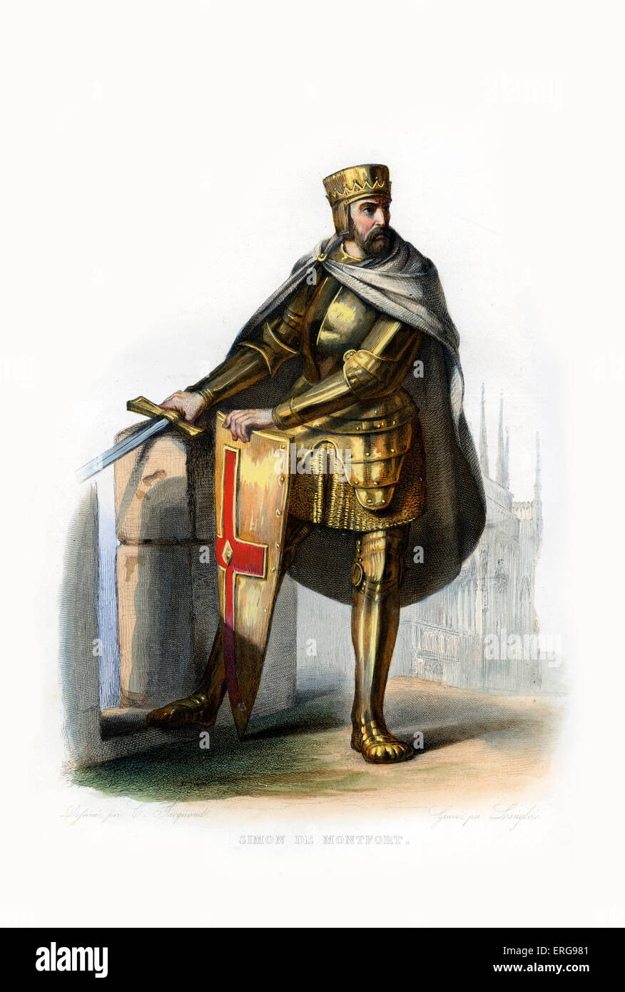 Simon IV de Montfort. French nobleman, took part in the Fourth Crusade (1202–1204) and was a prominent leader of - Stock Image