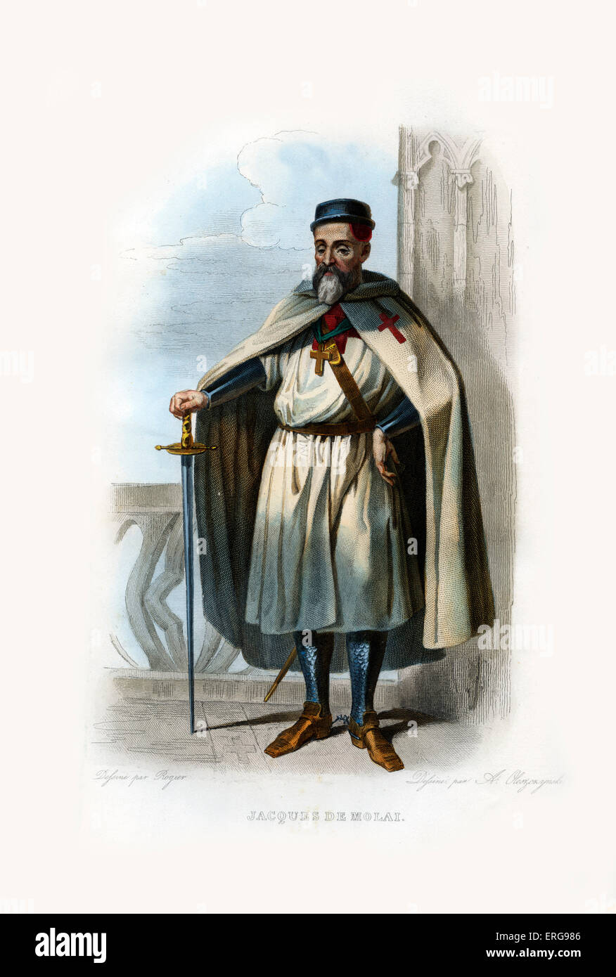 Jacques de Molai. Grand Master of the Knights Templar (one of Western Christian military orders in Medieval Europe). - Stock Image