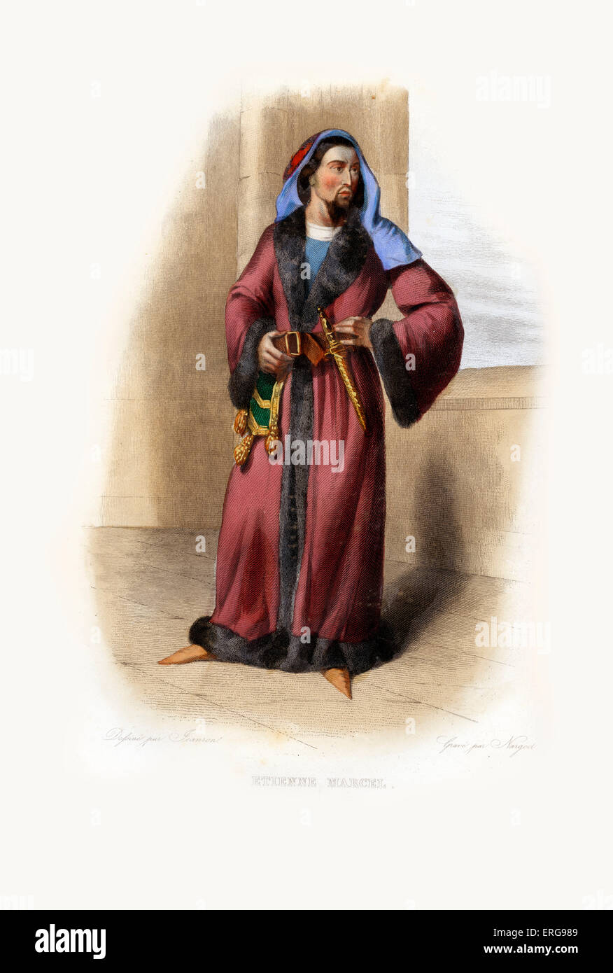 Étienne Marcel. Provost of the merchants of Paris under King John II, called John the Good (Jean le Bon). c. - Stock Image