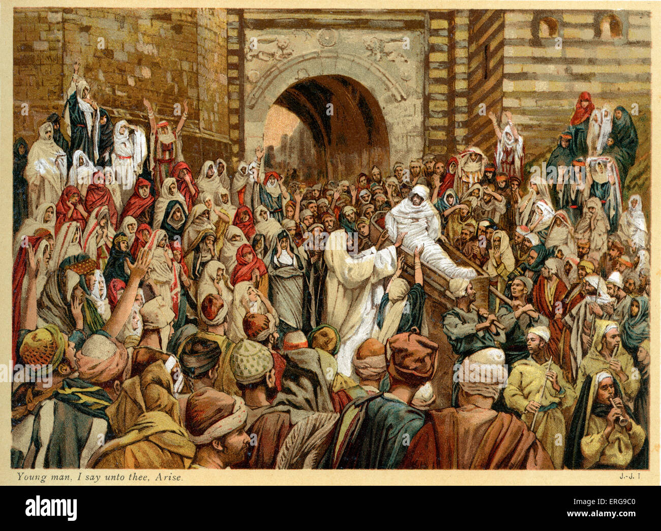 Young man, I say unto thee, Arise - St Luke , Chapter 7.  Illustrated by J James Tissot. French painter 15 October - Stock Image