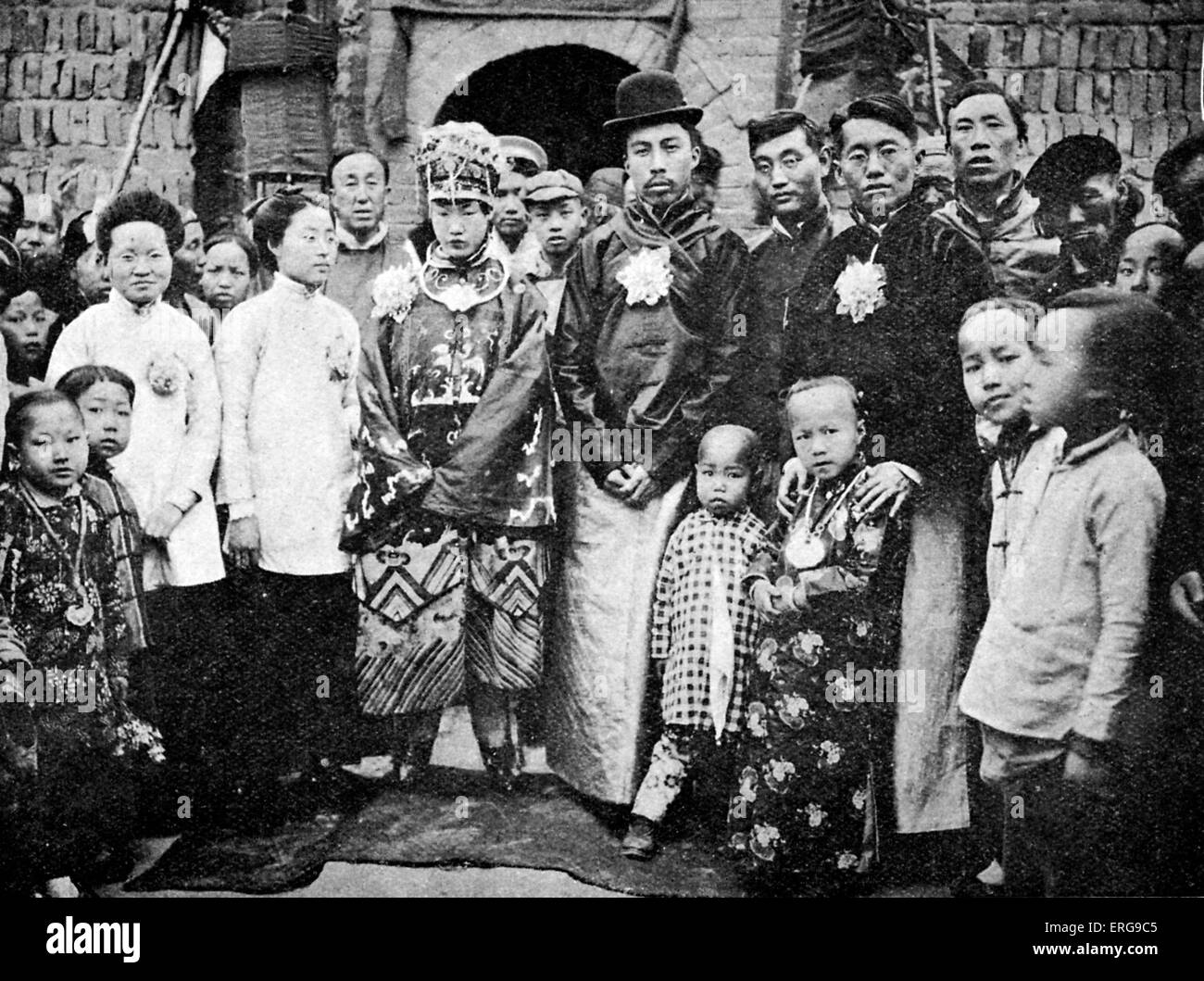 Wedding party at Fen Chou Fou, China. Early 20th century. Traditional dress. Stock Photo