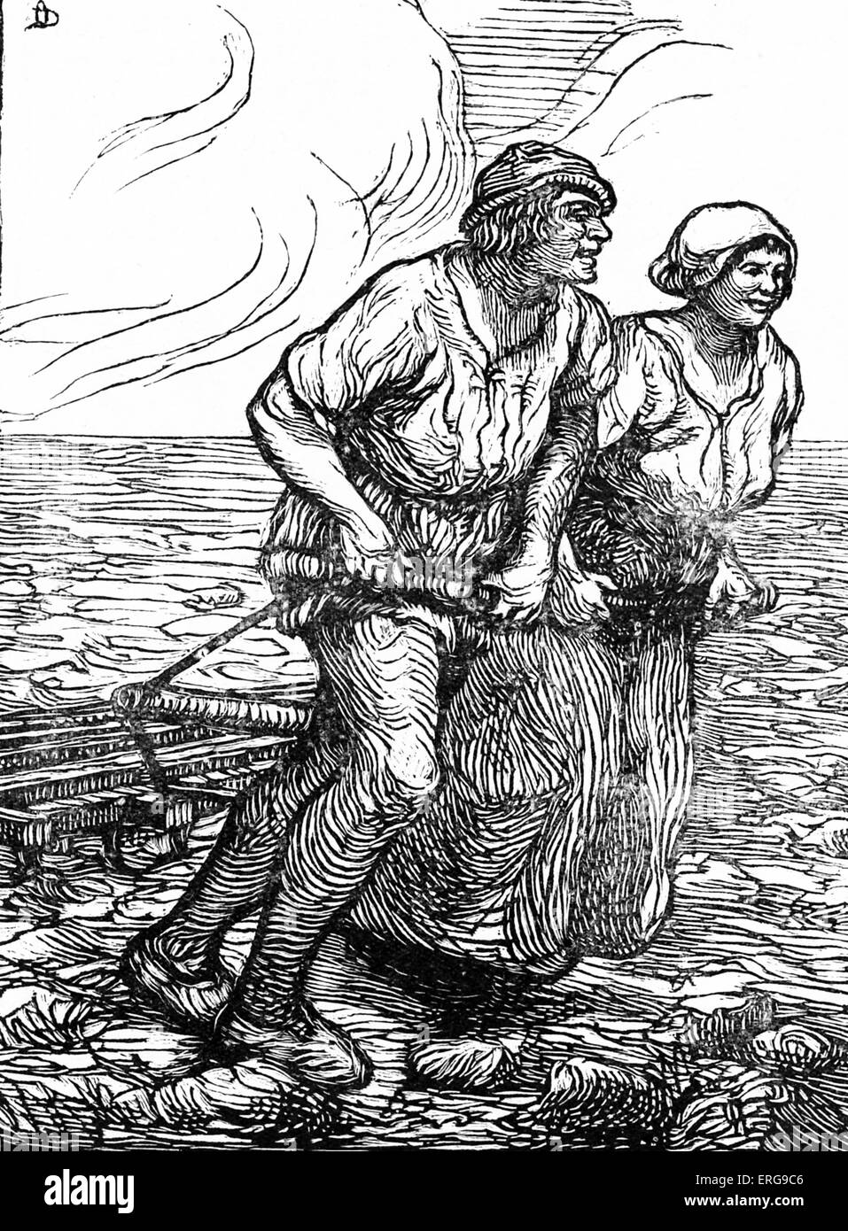 Till Eulenspiegel legend - Claes and Soetkin.  Middle Low German folklore figure and hero of a folk tale, known - Stock Image