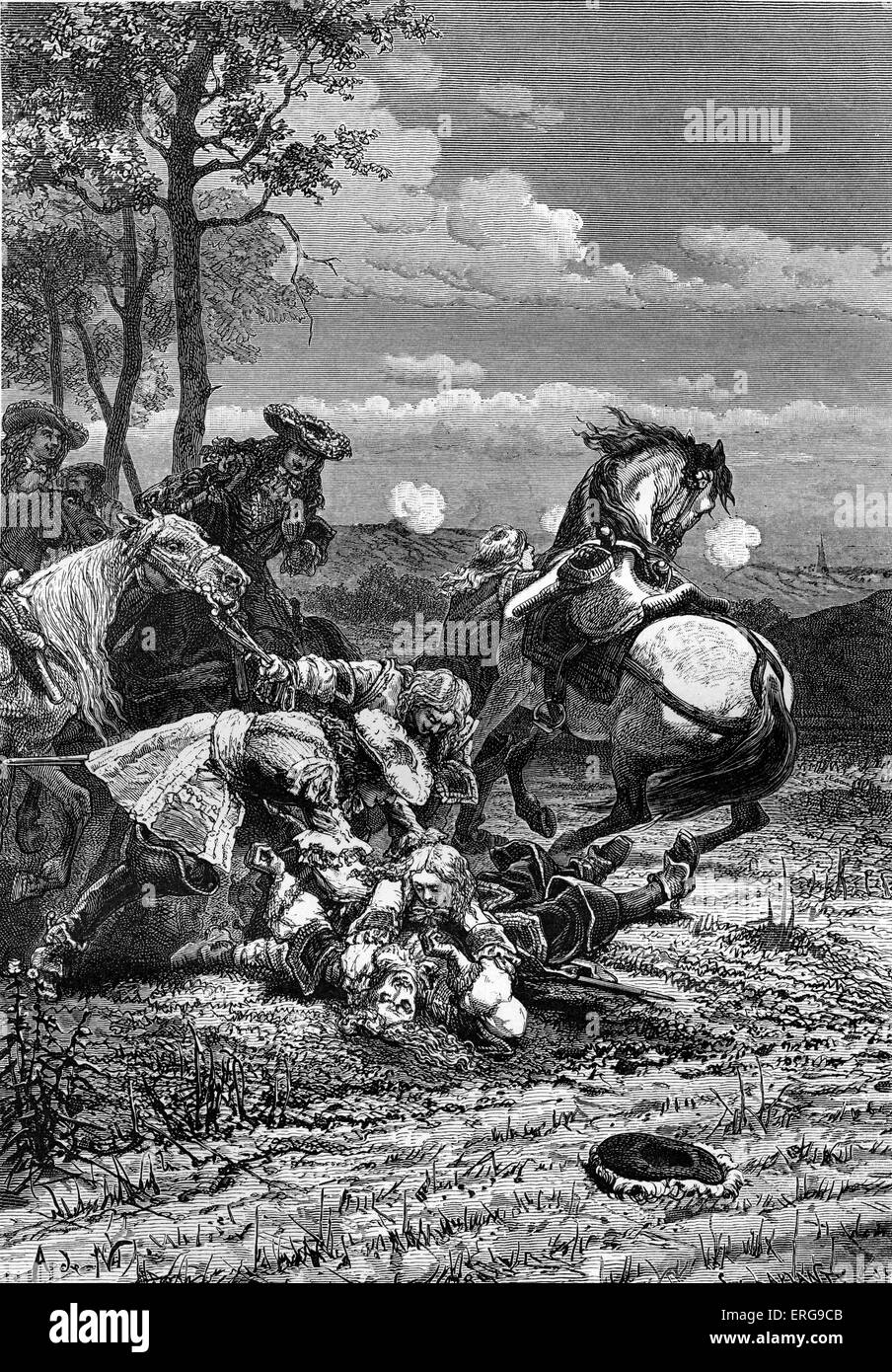 Vicomte de Turenne 's death, 27 July 1675. During the Battle of Salzbach (Alsace) between France and the Holy - Stock Image