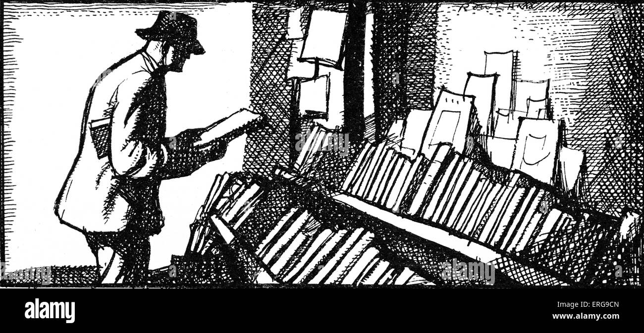 Book collector - from drawing by Roland Hilder. - Stock Image