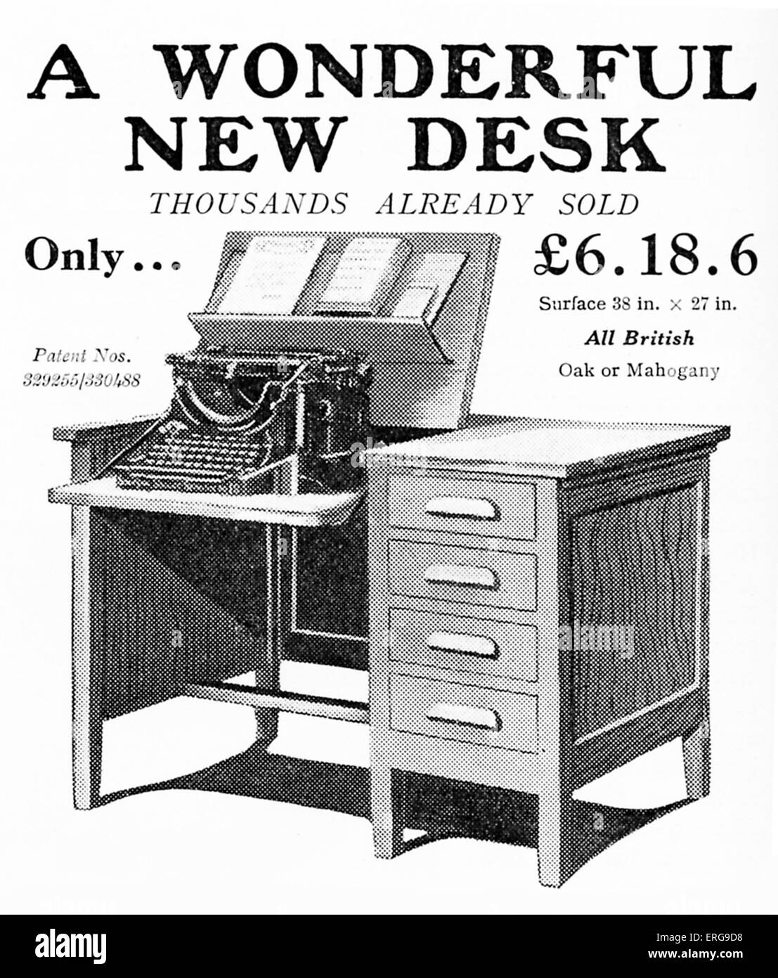 'Secrytype' desk by OSDA Ltd - advert (British).  1932. With platform for typewriter. - Stock Image