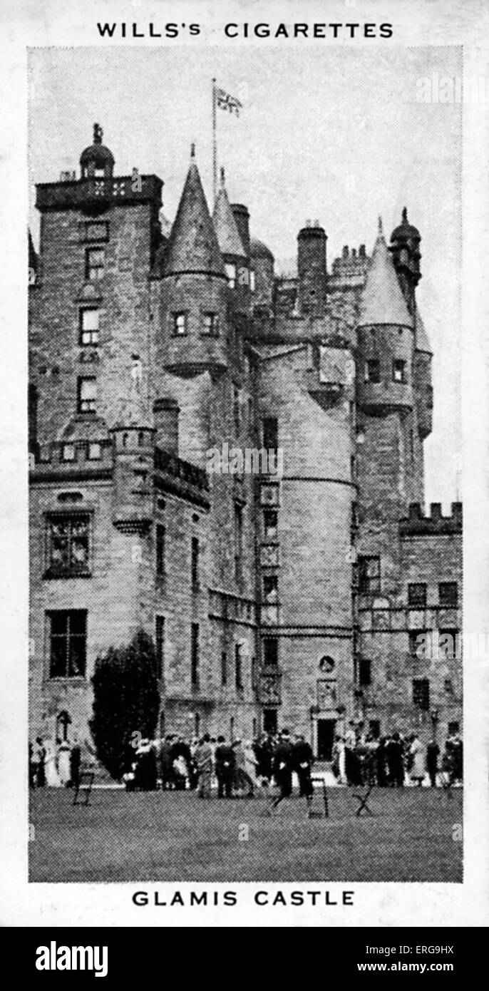 Glamis Castle, the ancestral home of the Earl of Srathmore, father of Queen Elisabeth. Castle was built by Partick, Stock Photo