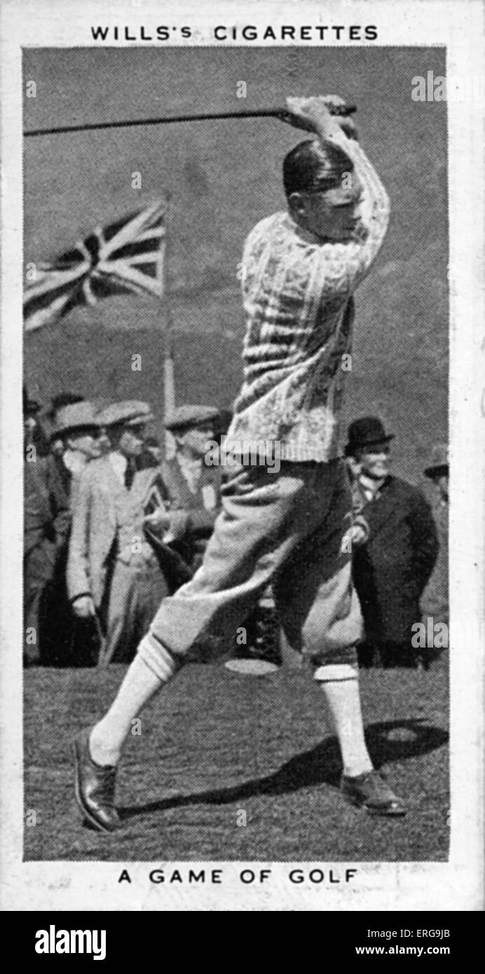 King George VI (then Duke of York) playing golf at Ton Pentre, Rhondda Valley, in May 1924. From commemorative coronation Stock Photo
