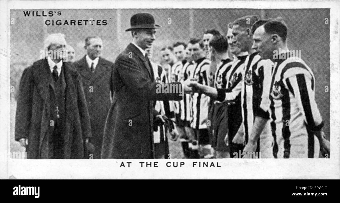 King George VI (then Duke of York) at F.A. Cup Final at Wembley, shaking hands with Aston Villa and Newcastle United - Stock Image