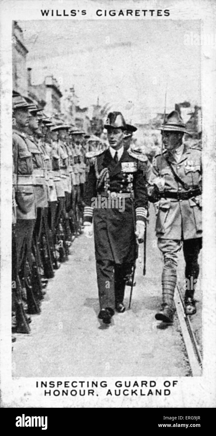 King George VI (then Duke of York) inspecting Guard of Honour in Auckland, New Zealand, February 1927. From commemorative - Stock Image