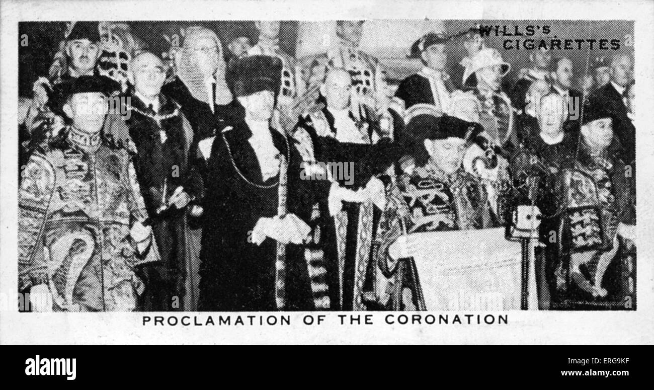 Proclamation of the Coronation of King George VI, 12 December, 1936: the date for the coronation was set for 12 - Stock Image