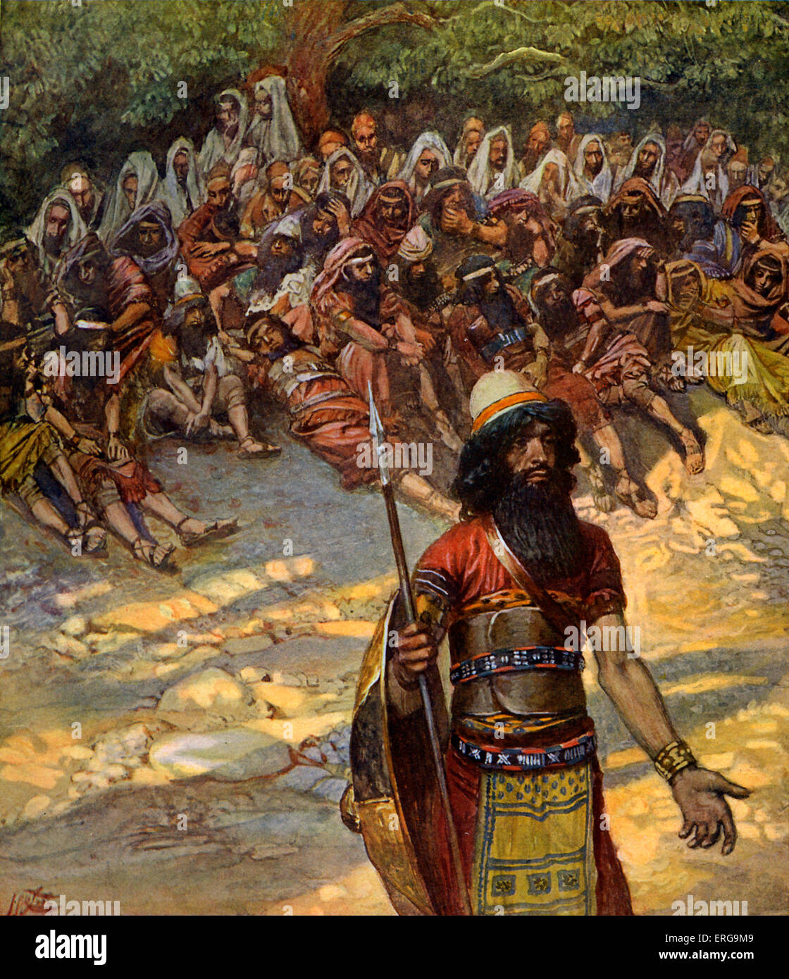 'Gideon asks for bread for the men of Succoth' by J James Tissot. Illustration to the Book of Judges, 8.5 - Stock Image