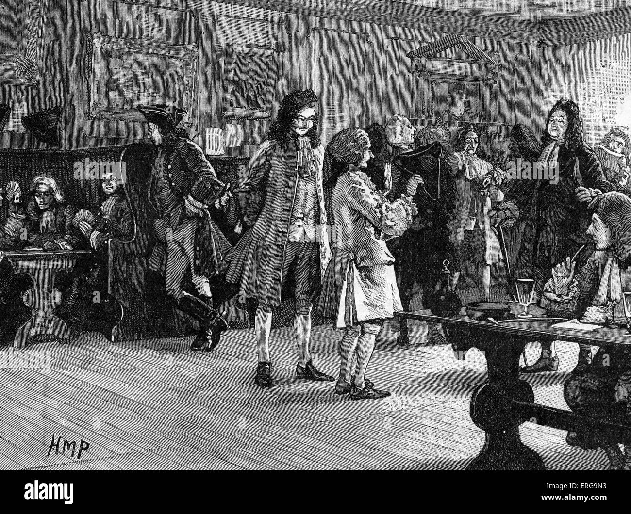 London Coffee-House in the Reign of Queen Anne, ca 1709. 18th century coffeehouses in London each attracted a particular - Stock Image