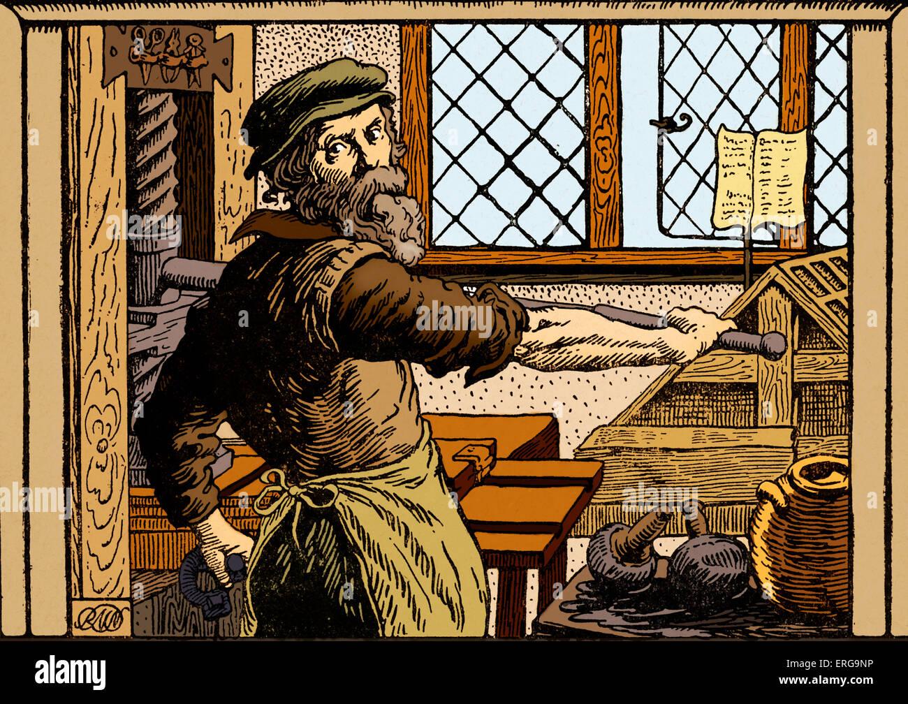 Printer with printing press  Renaissance period Stock Photo