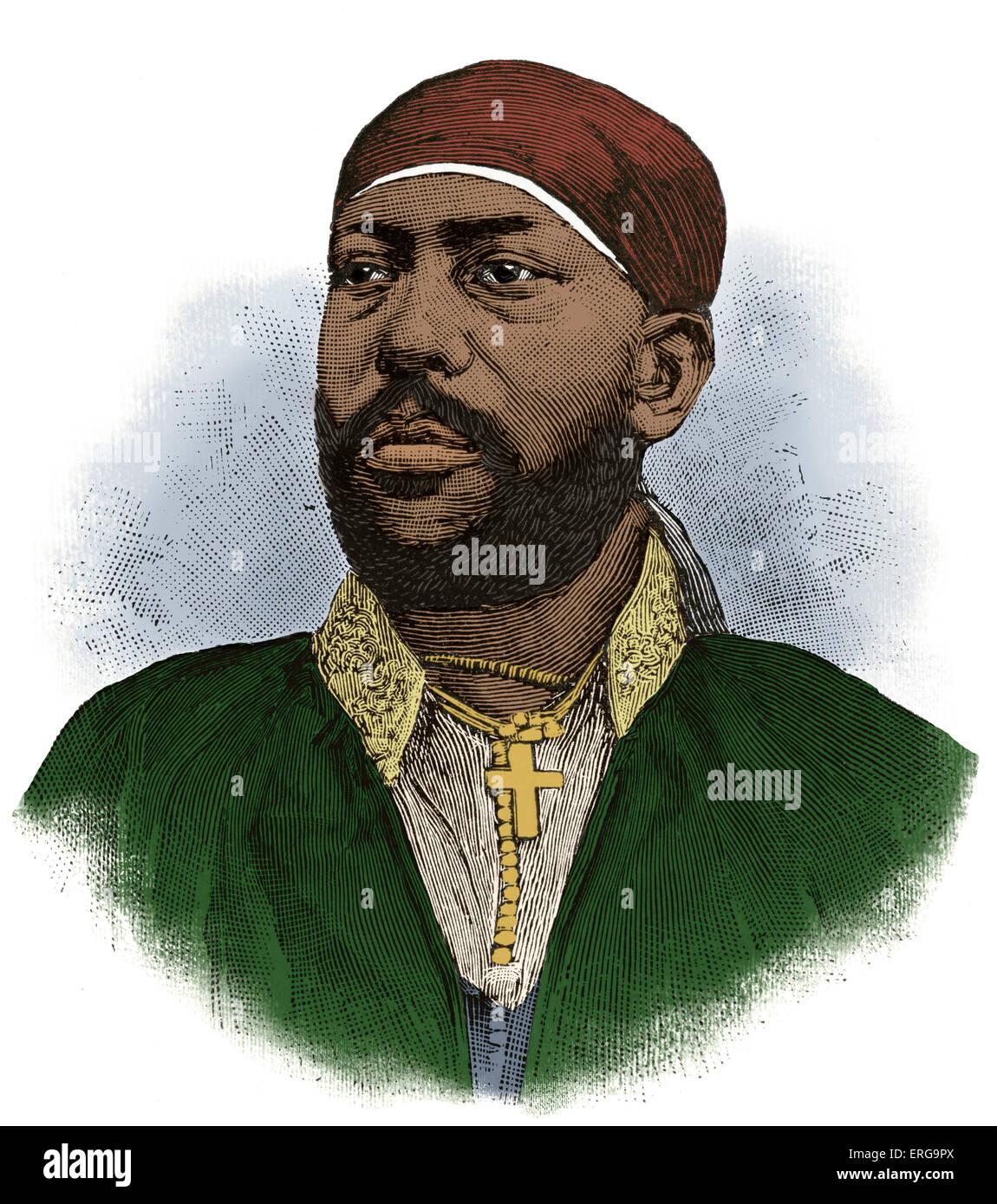 Menelik II, Emperor of Abyssinia, 1889 - 1913. Baptized as Sahle Maryam, b. 17 August 1844 - d. 12 December 1913. - Stock Image