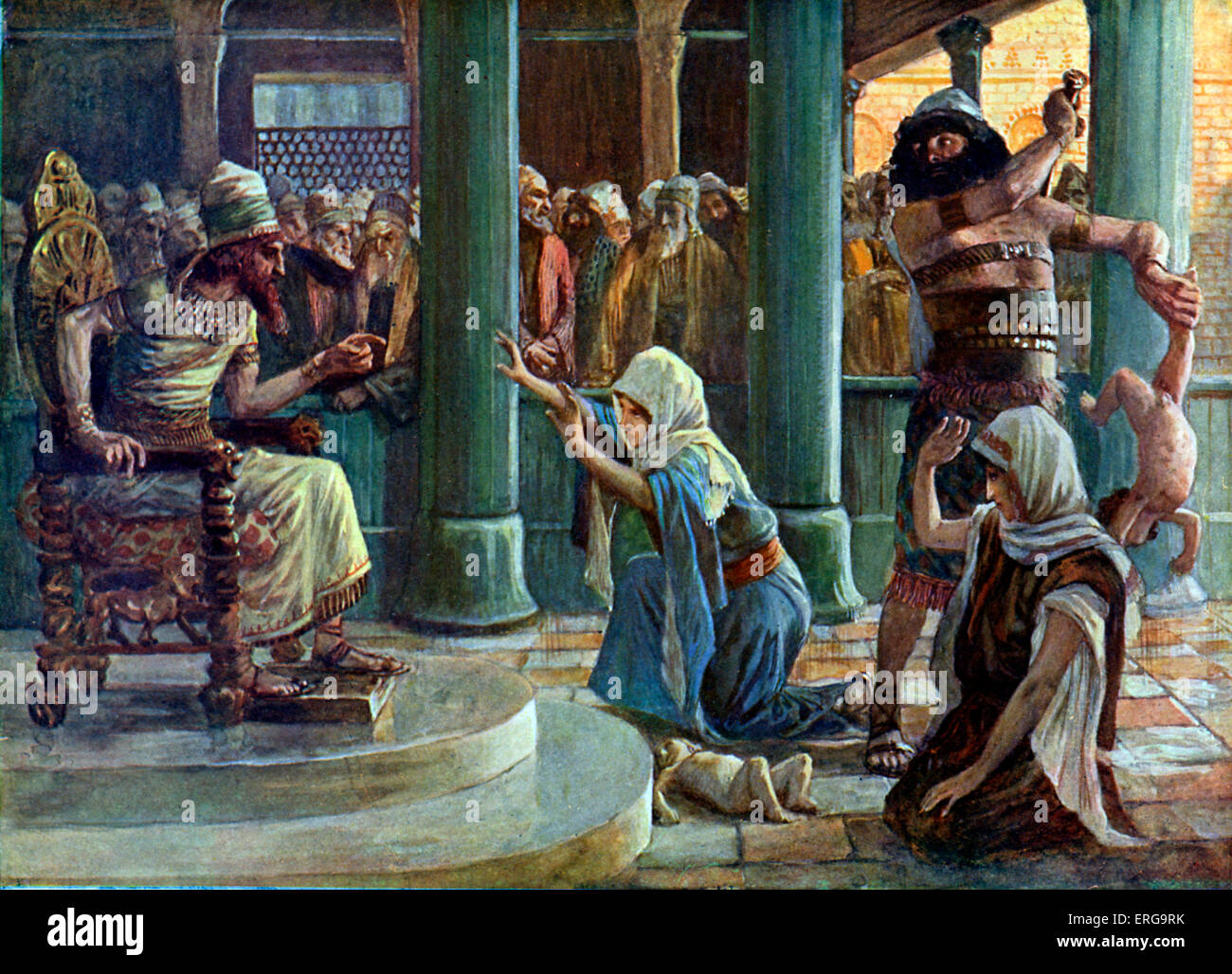 The Wisdom of Solomon by J James Tissot. Illustration of Book of Kings I, 3.27 : 'Then the king answered and said, Stock Photo