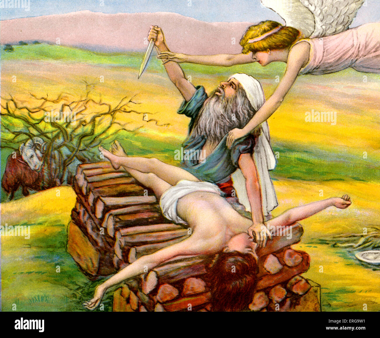 Abraham 's sacrifice of Isaac -after  J James Tissot. Abraham is prevented from sacrificing his son Isaac by - Stock Image