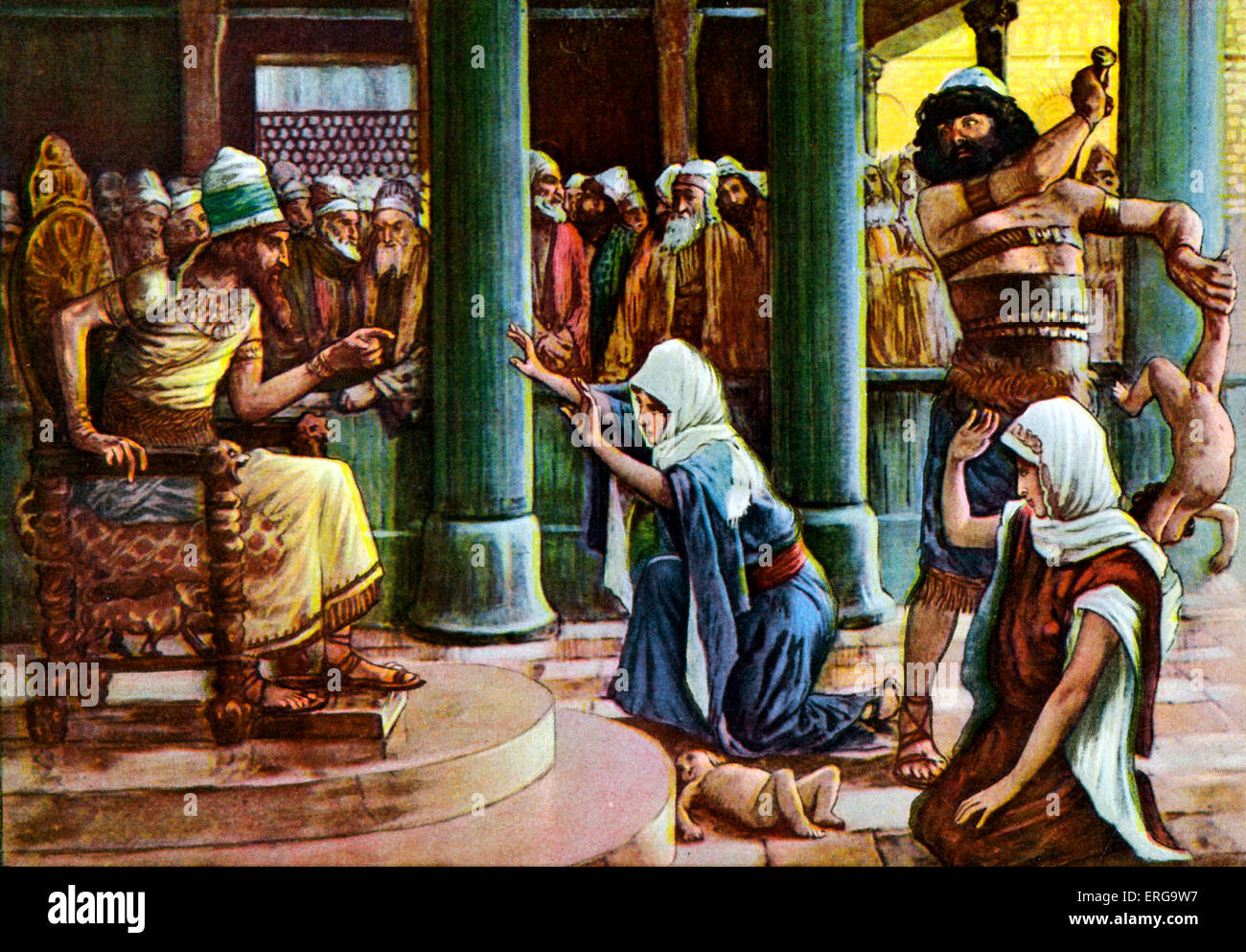 The Wisdom of Solomon  - after J James Tissot. Illustration of Book of Kings I, 3.27 : 'Then the king answered - Stock Image