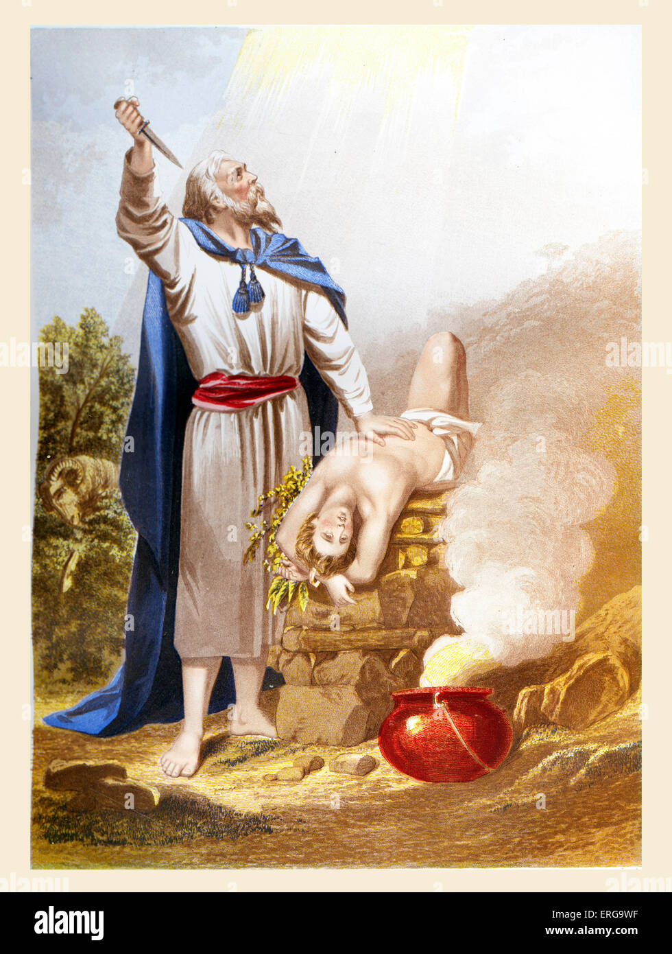 Abraham offering Isaac. Illustration to Book of Genesis, 22. 10 -13.  Chromolithograph   plate by Kronheim. - Stock Image