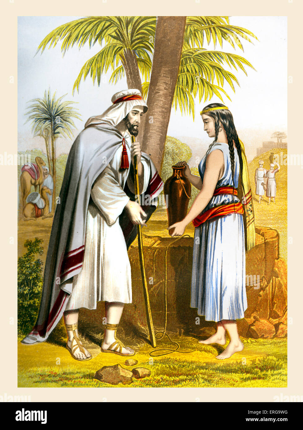 rebekah and abraham s servant searches for a wife for isaac stock