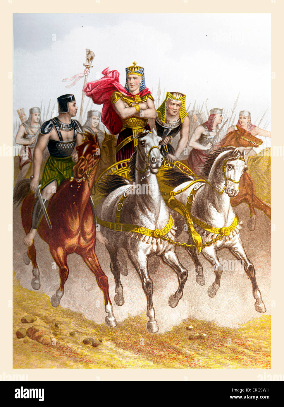 Pharaoh in pursuit of the Israelites as they leave Egypt. Illustration to Book of Exodus, 14.5 - 7. Moses leads - Stock Image