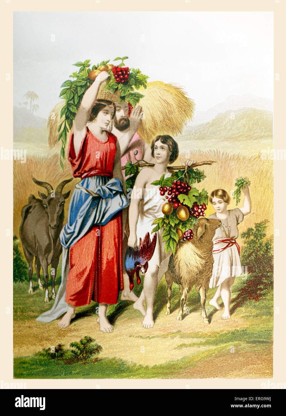 The First Fruits. Illustration to Book of Exodus. 13.19. ('And the feast of harvest, the firstfruits of thy - Stock Image
