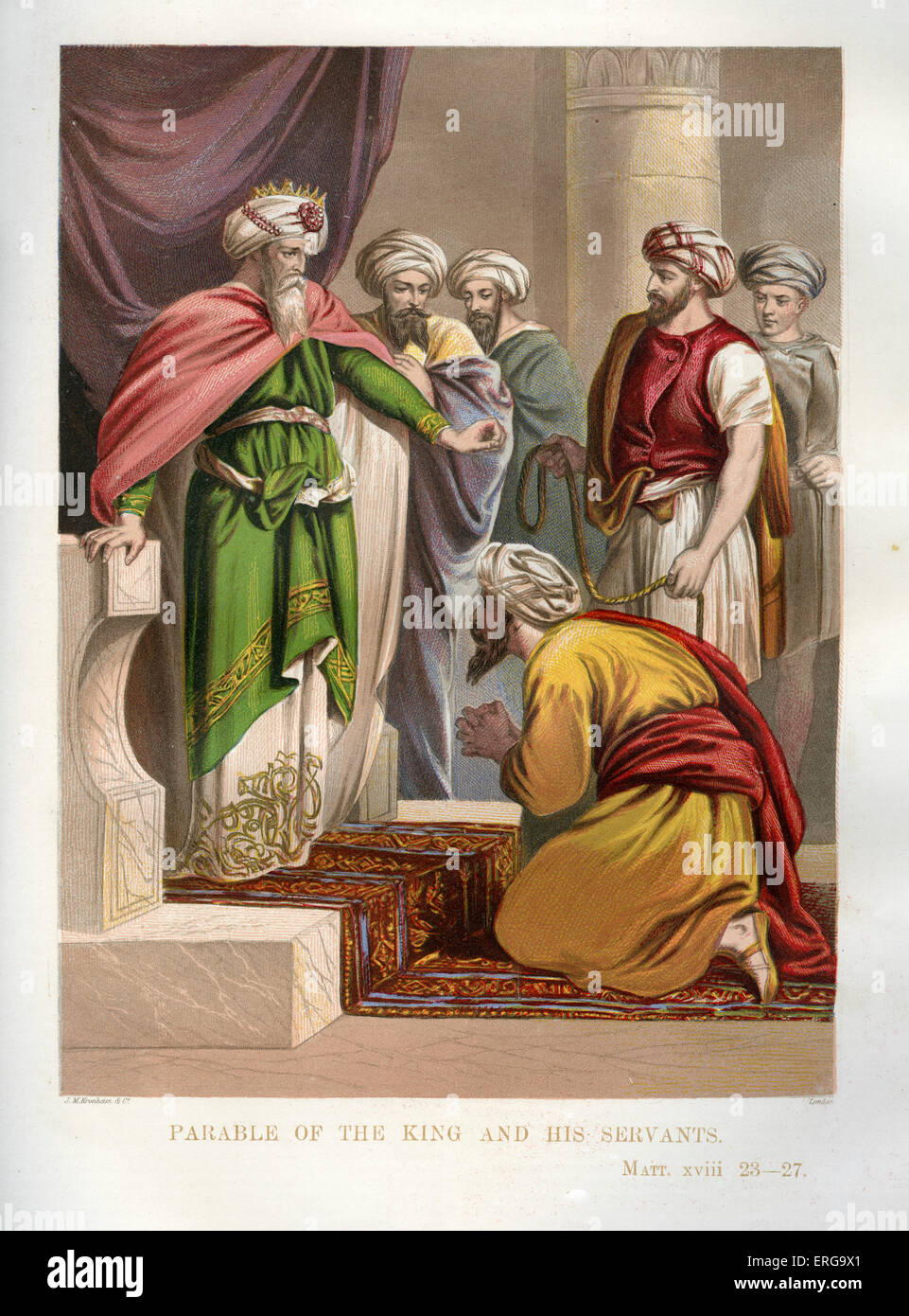 Parable of the unforgiving servant. Illustration to Matthew 18. 23- 27. Parable of Jesus. - Stock Image