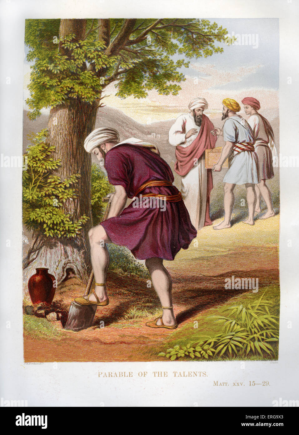 Parable of the Talents - told by Jesus. Illustration to Matthew 25. 15 -29. A master is leaving his home to travel, - Stock Image