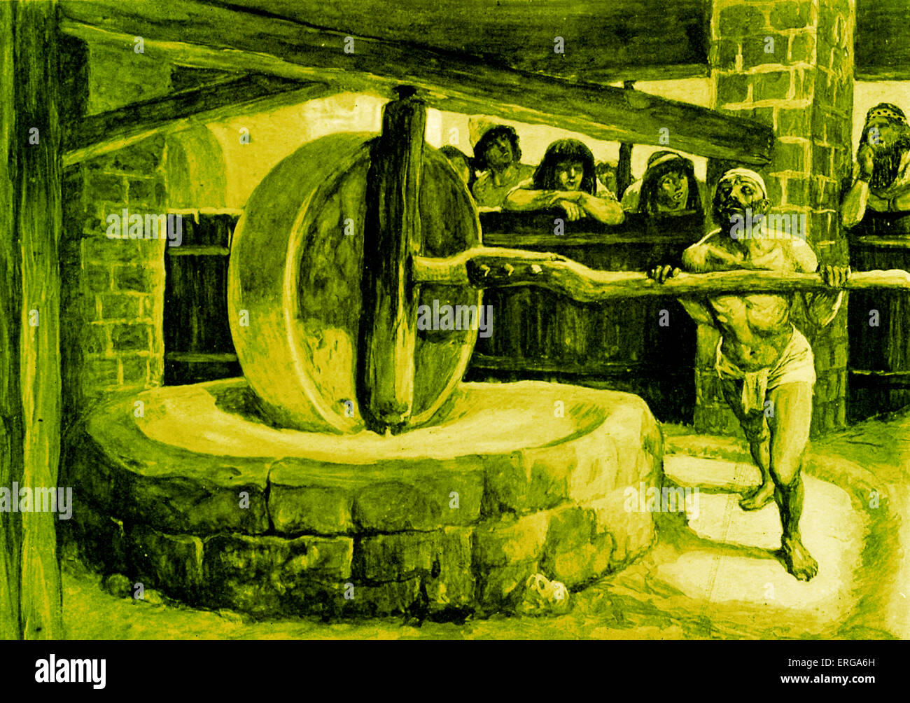 'Samson turns the mill in prison' by J James Tissot. Illustration to Book of Judges, 16.21: 'But the - Stock Image