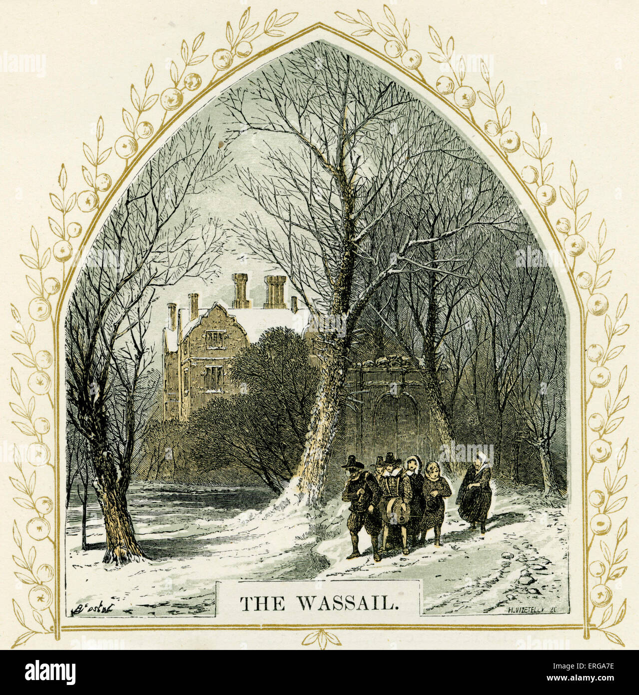 The Wassail - illustration by Birket Foster, 1872. Wassail is an English mulled punch associated with Yuletide. - Stock Image