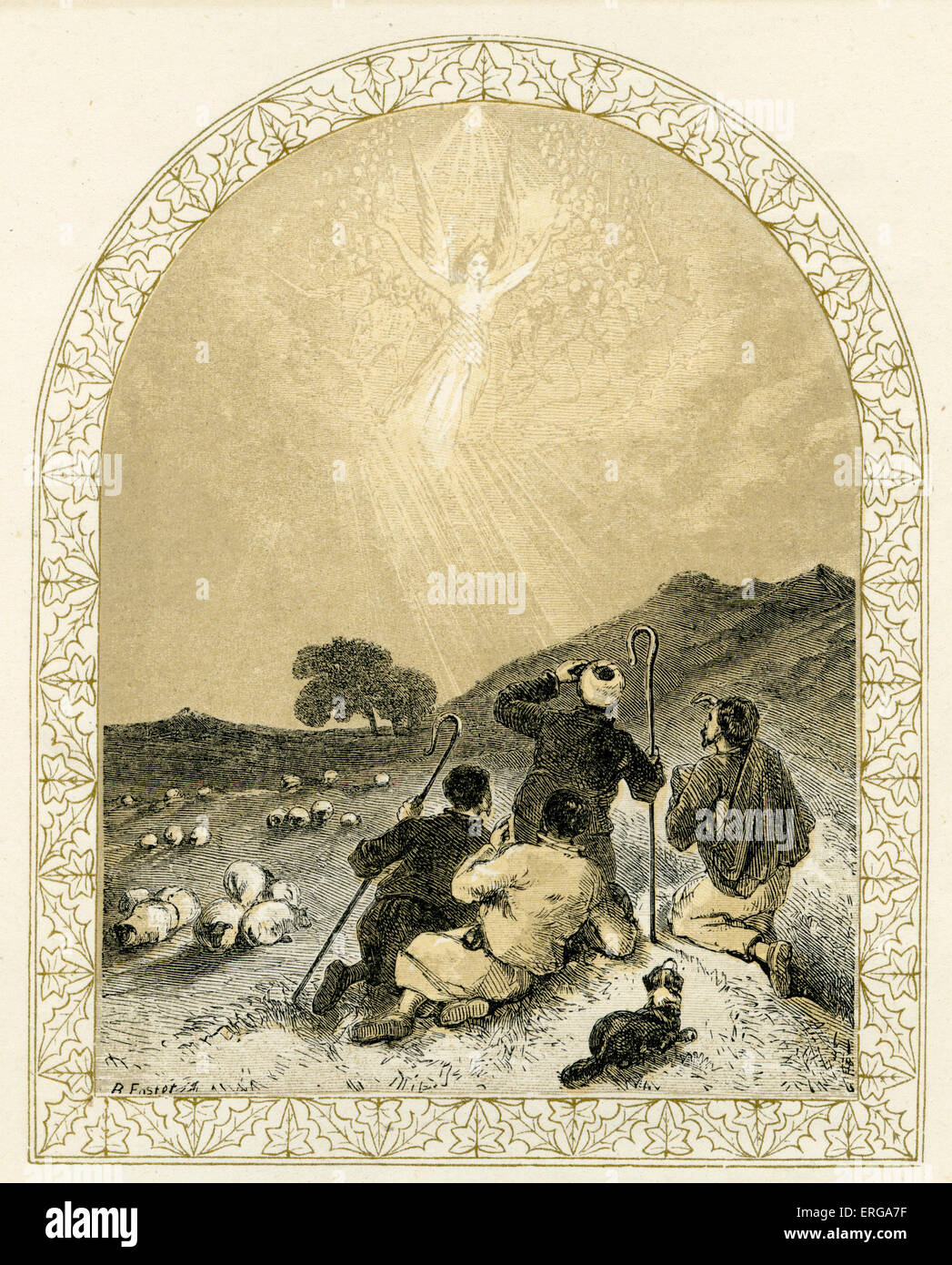 Angel appears to shepherds -  nativity scene. Illustration by Birket Foster, 1872. The angel heralds the birth of - Stock Image